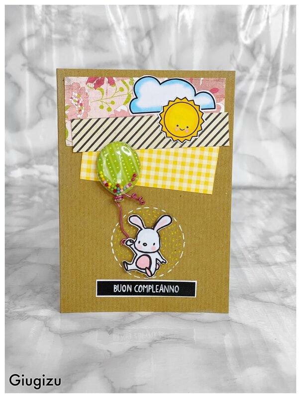 Flying bunny birthday card