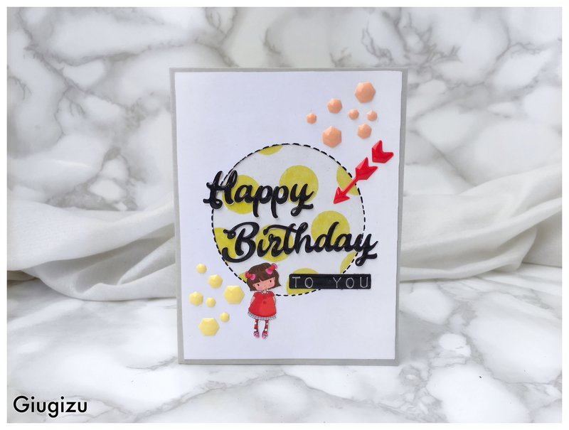 Dots and enamel handmade birthday card