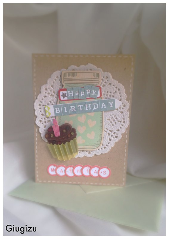 Jar & Cupcake handmade birthday card