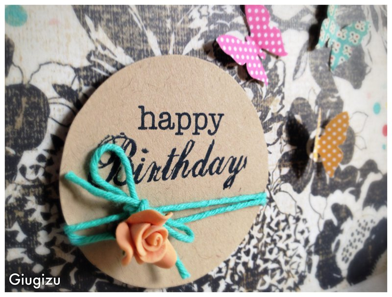 Kraft patterned paper and butterflies birthday card