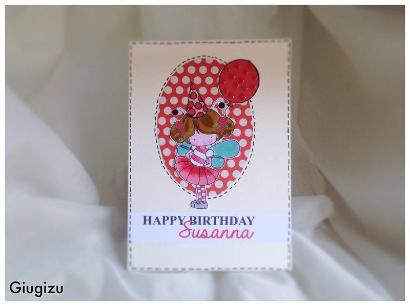 Girl holding a balloon birthday card