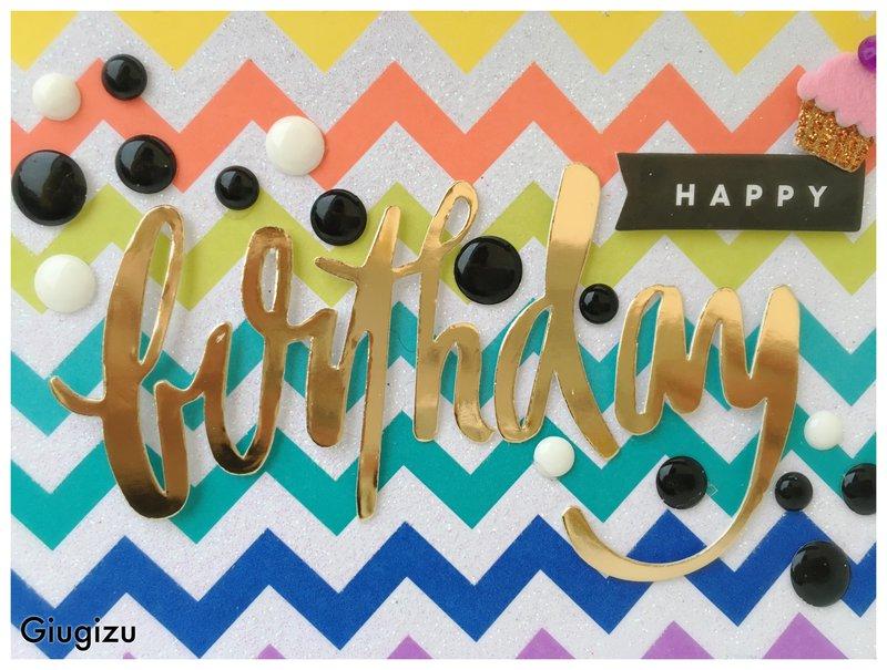 Chevron & gold birthday card