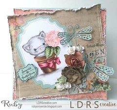Hydrangea Kitty Card