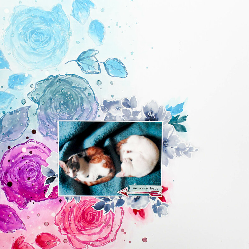 Watercolor Roses Layout