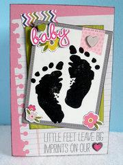 Little Feet Baby Girl Card
