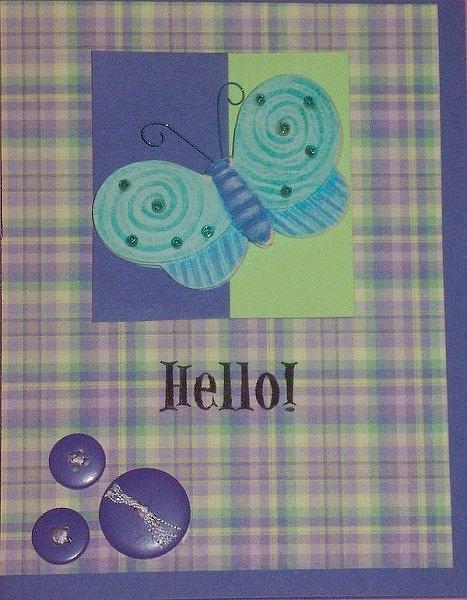 Joy of Cardmaking Recipe 1 *challenge* -Butterfly hello card