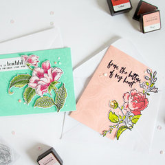 handpicked Bouquet + Engraved Flowers Cards.