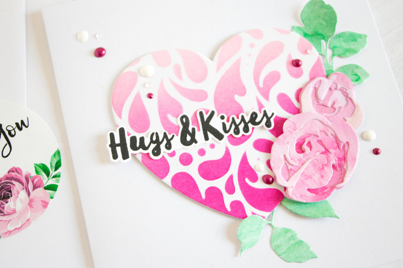 Hugs & Kisses. Altenew Spray Inks & Stencils.