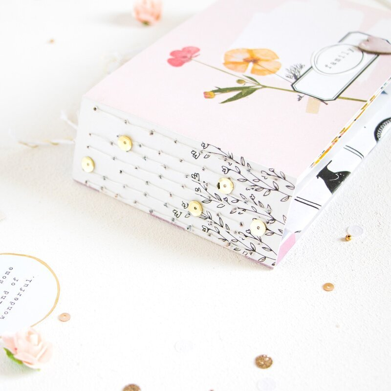 Mini Album with Pocket Punch Board, Book Binding Tool & Maggie Holmes Heritage.