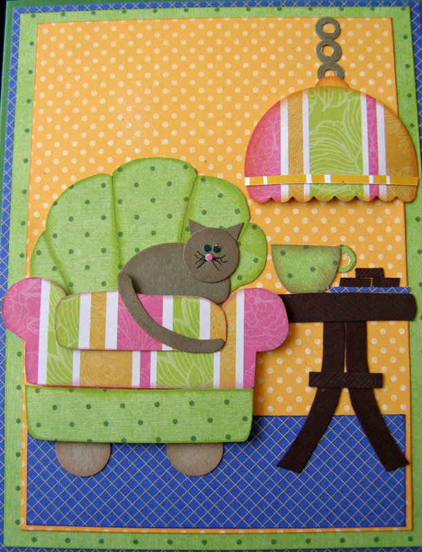 Paper Pieced Chair and Cat