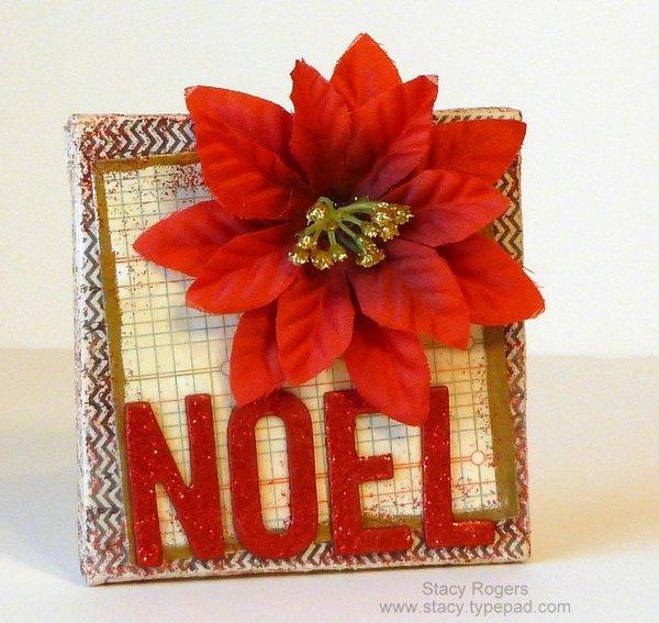 NOEL a mixed media art mini canvas