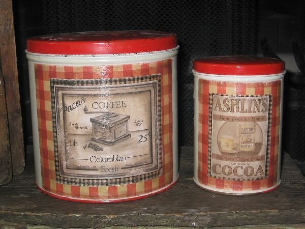 Altered Vintage Metal Canisters~See Before and After!!