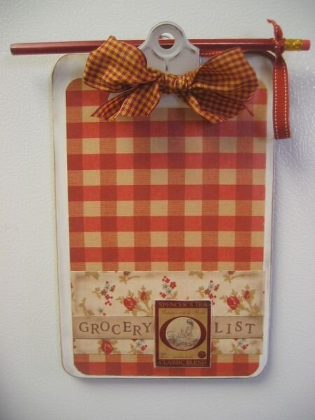 Magnetic Grocery List clipboard for fridge~matches set