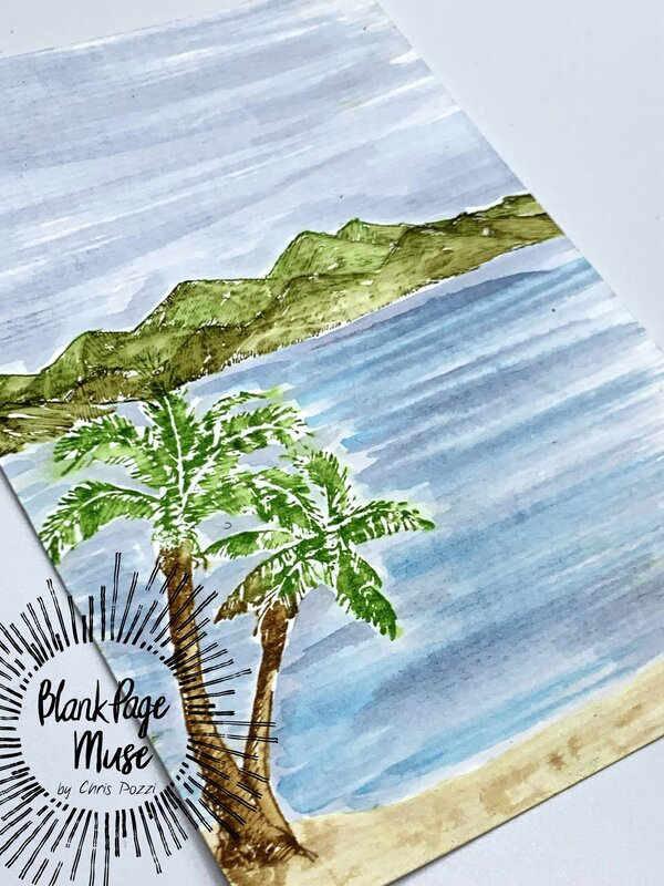 watercoloring with stamps