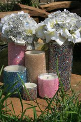 Sparkling candle or vase centerpieces (perfect for wedding/parties)