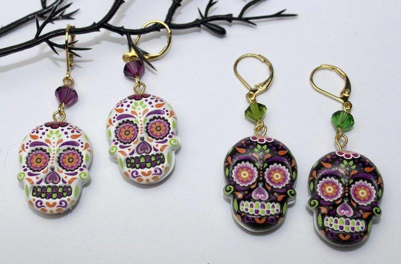 Halloween Calavera Mexican Skull Earring DIY