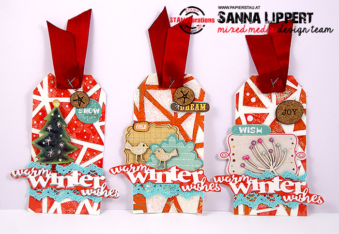 Warm Winter Wishes Christmas tag set