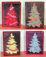 Set of Xmas cards in untraditional colors