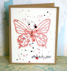 Misted and pressed stencil image cards