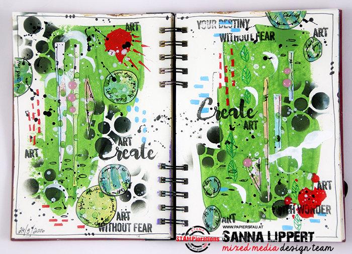 Art journal spread, Create art