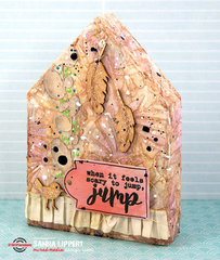 Altered wooden block home decor piece