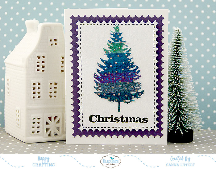 Glitter Striped Christmas cards