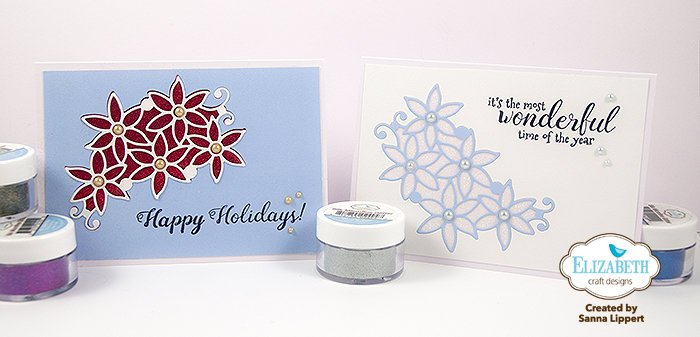 Die cut, glittered Christmas cards