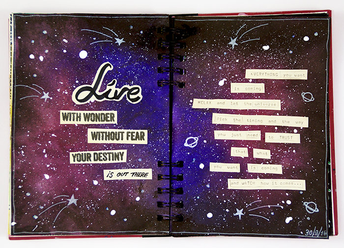 Live with wonder Art Journal spread