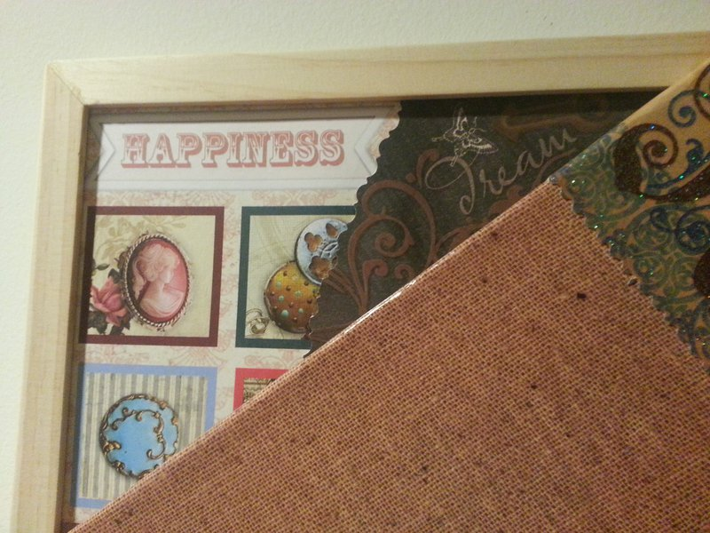 Cork board love collage hanging