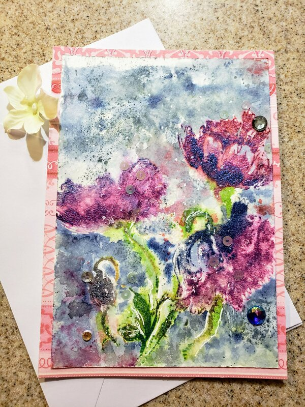 Flowers embossed in pearl embossing powder
