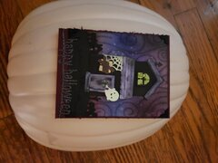 Spooky House Happy Halloween Card - view with lights on