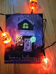 Spooky House Happy Halloween Card - view in the dark