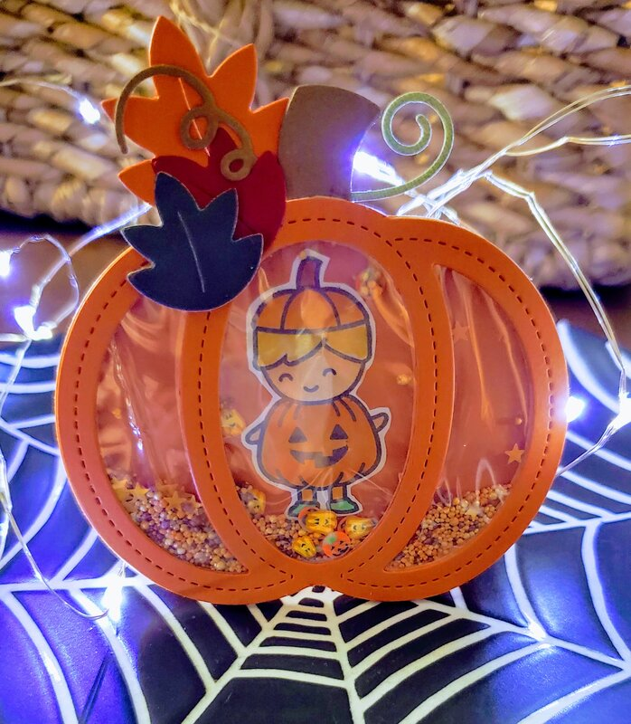 Pumpkin Shaped Shaker Card with sentiment inside - front view