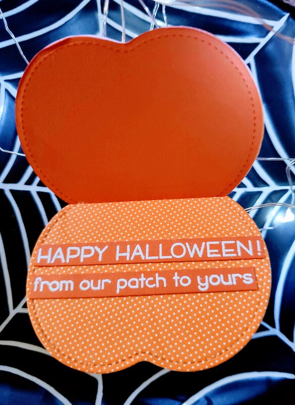 Pumpkin Shaped Shaker Card with sentiment inside - inside view