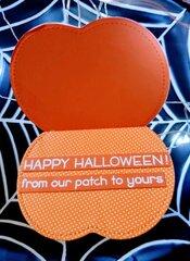 Pumpkin Shaped Shaker Card with sentiment inside - inside view