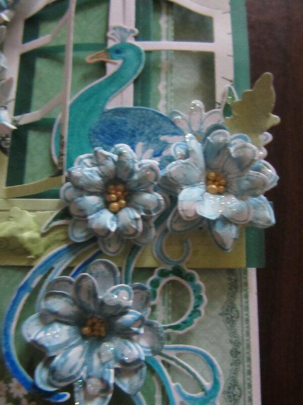 Heartfelt Creations Peacock in a window card