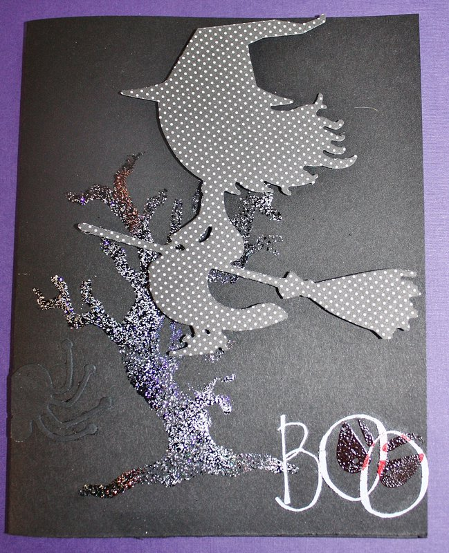 Spooky Witchy, Tree, & Scary 'Boo' Eyes Halloween Card