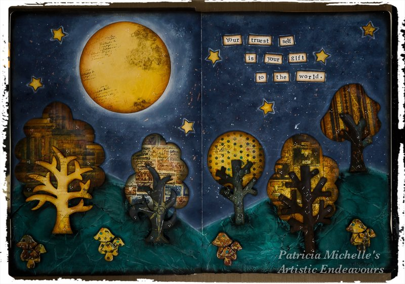"""""""A Starry Night"""" Art Journal Page"""