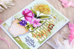Coffee & Flowers: Colored, Stenciled & Foiled Handmade Card using Digital Stamps