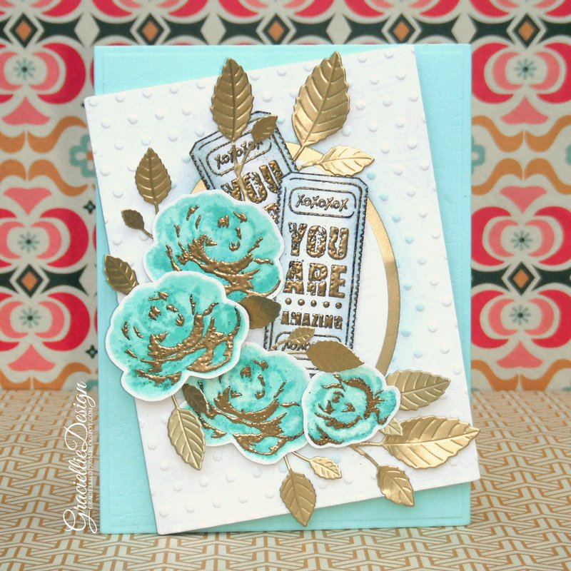 Multi-step Stamped Flowers - Heat Embossing with Dye Ink -