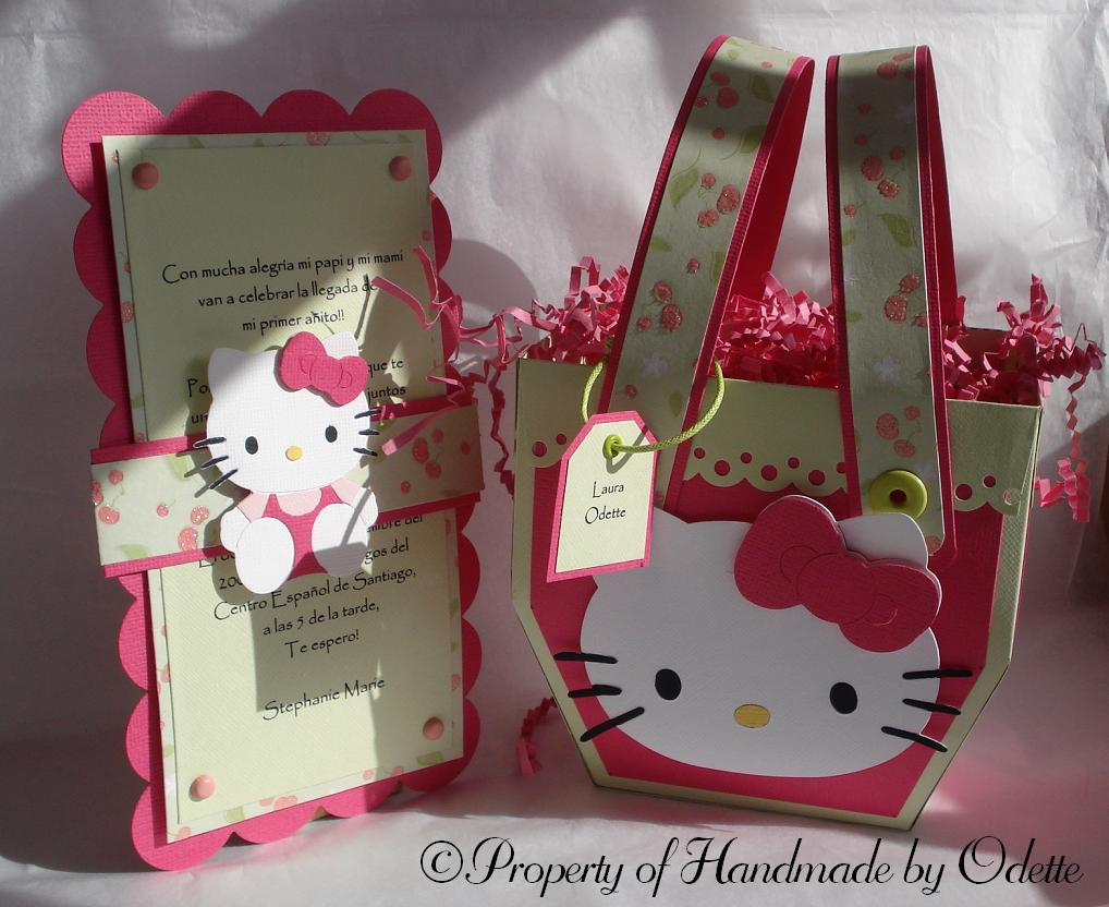 Hello kitty scrapbook ideas - Hello Kitty Basket Invitation