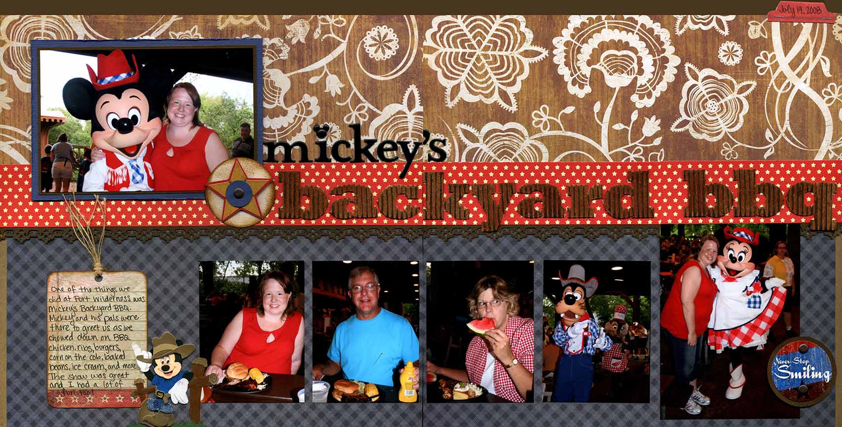 mickeys backyard Mickey's backyard bbq is a signature character dining experience, located at  disney's fort wilderness resort and campground.