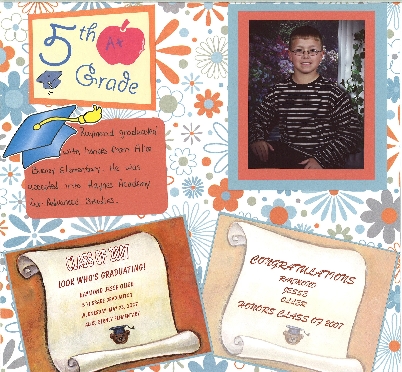 Scrapbook ideas graduation - 5th Grade Graduation