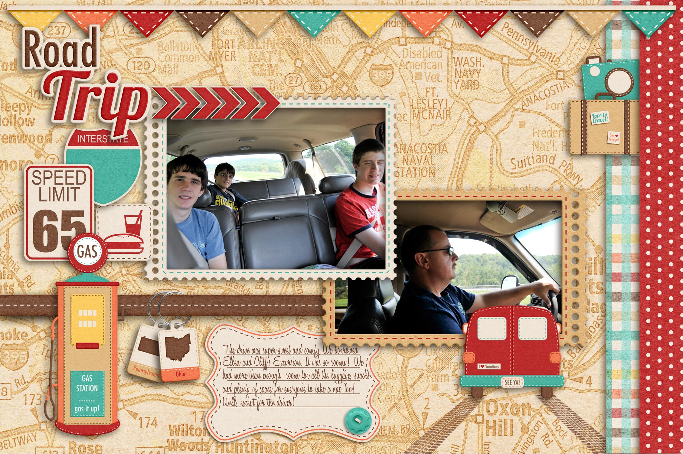 How to scrapbook a road trip - Road Trip Mini Album Pg 1