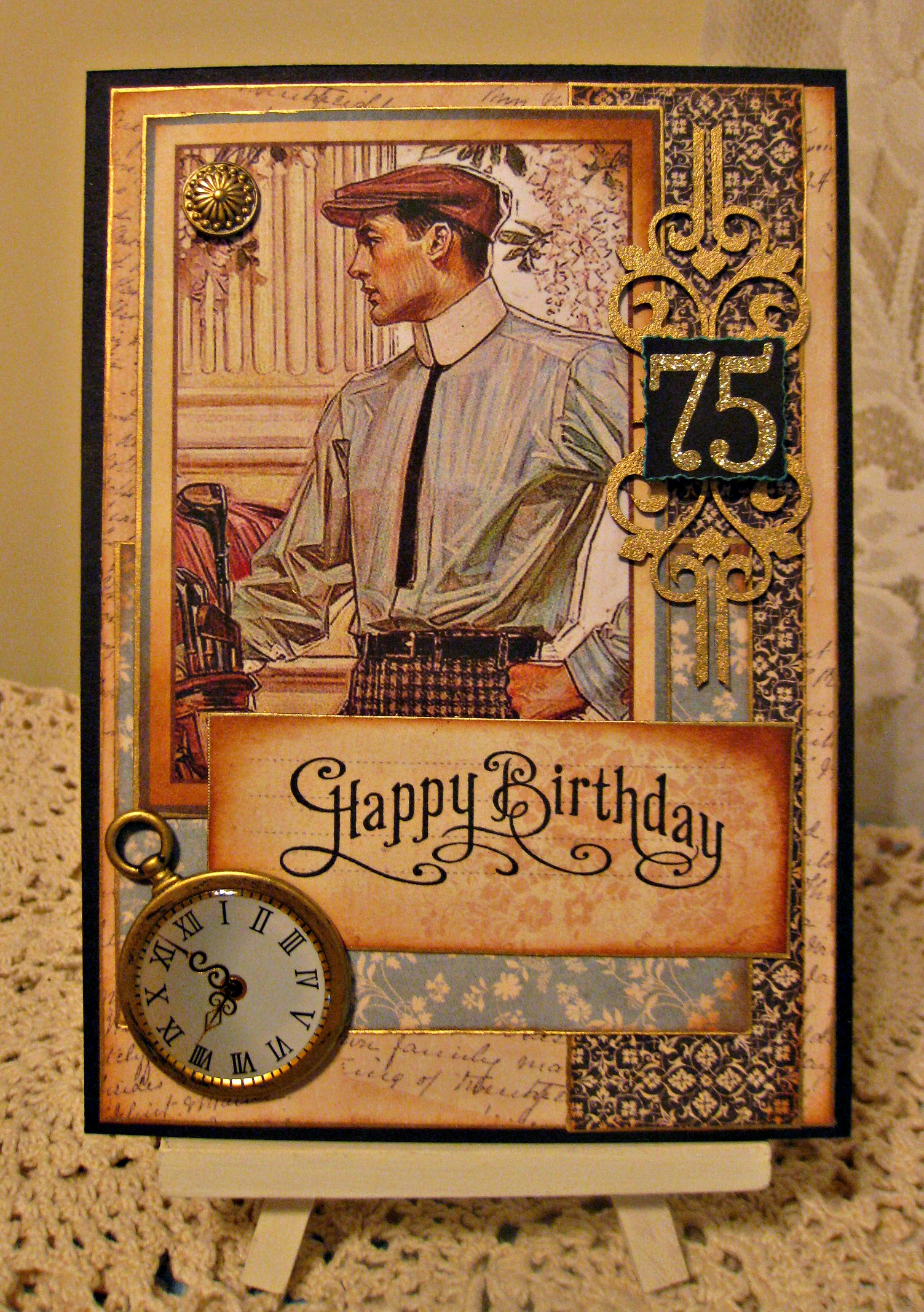 Masculine 75th Birthday Card