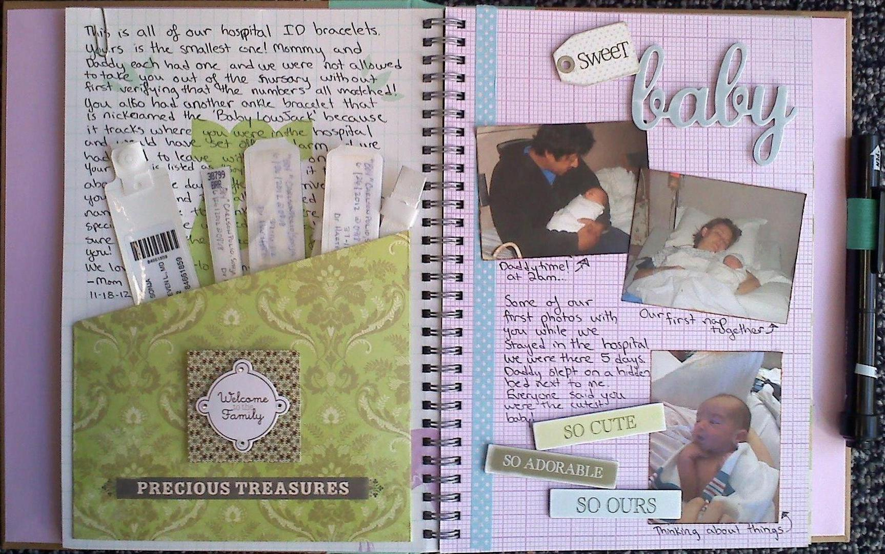 How to scrapbook baby book - Baby S 1st Memory Book Page 4 5