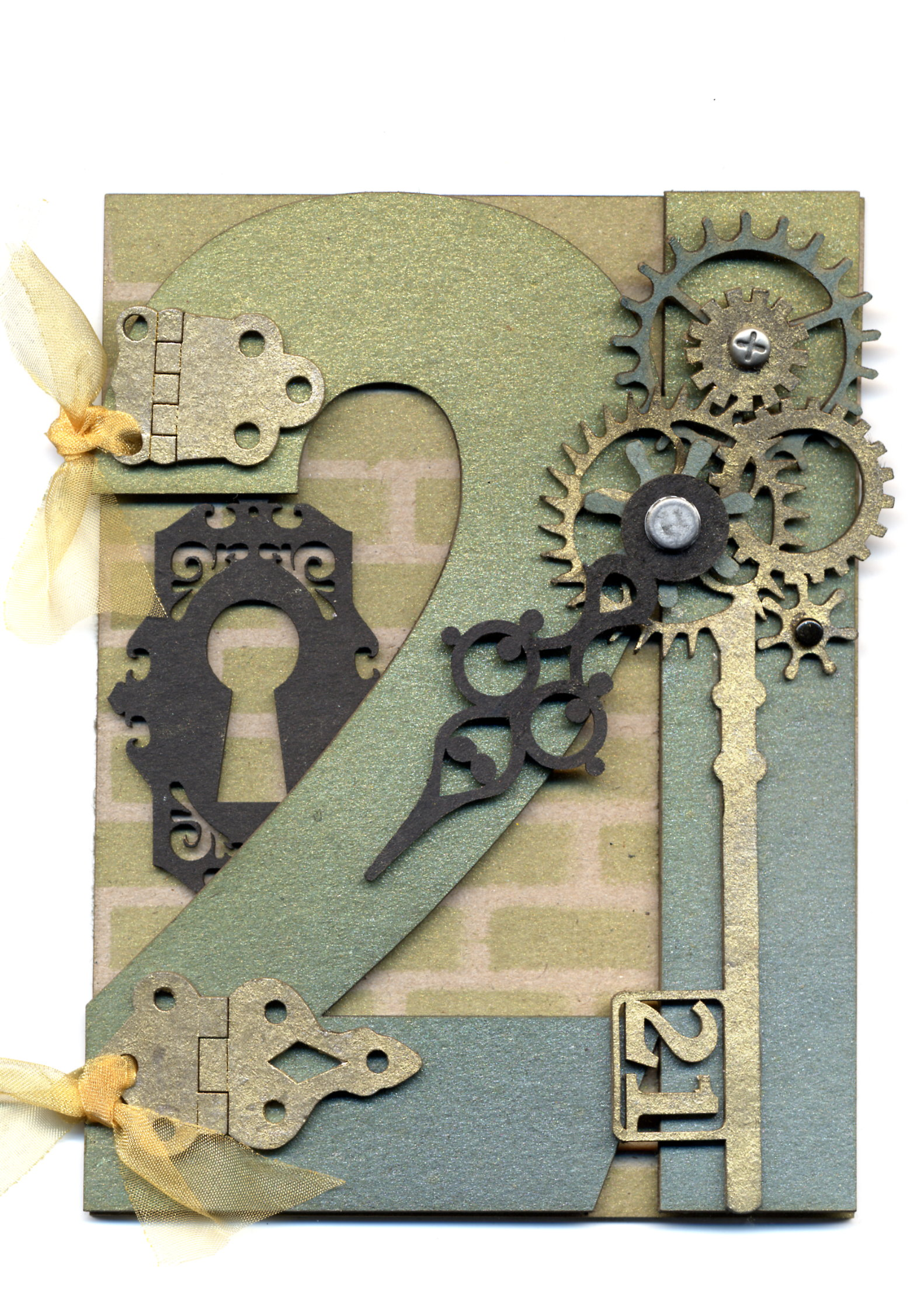 21st Birthday Card With Gears