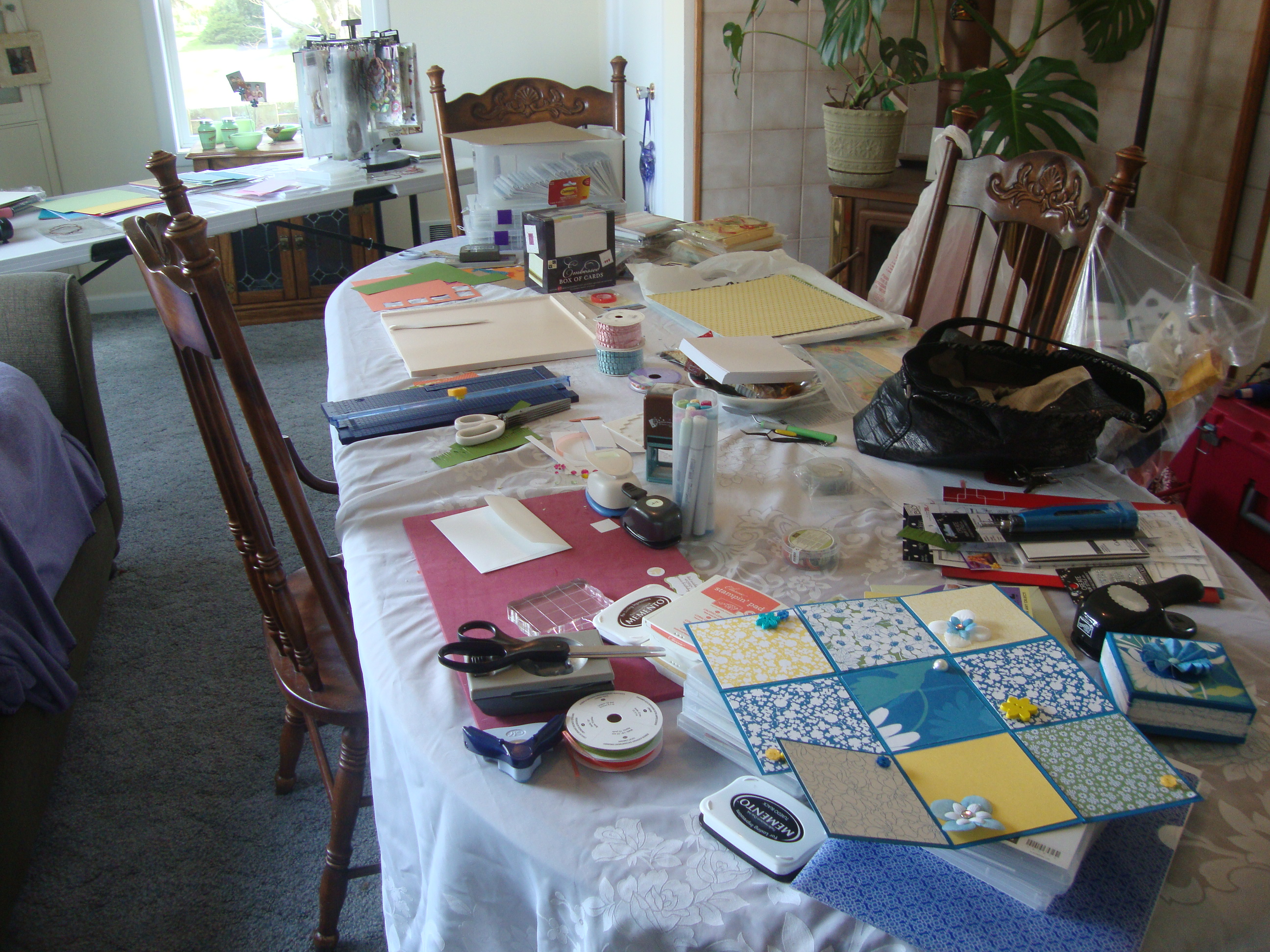 My Messy Dining Room Table After Easter Cards And Other Projects