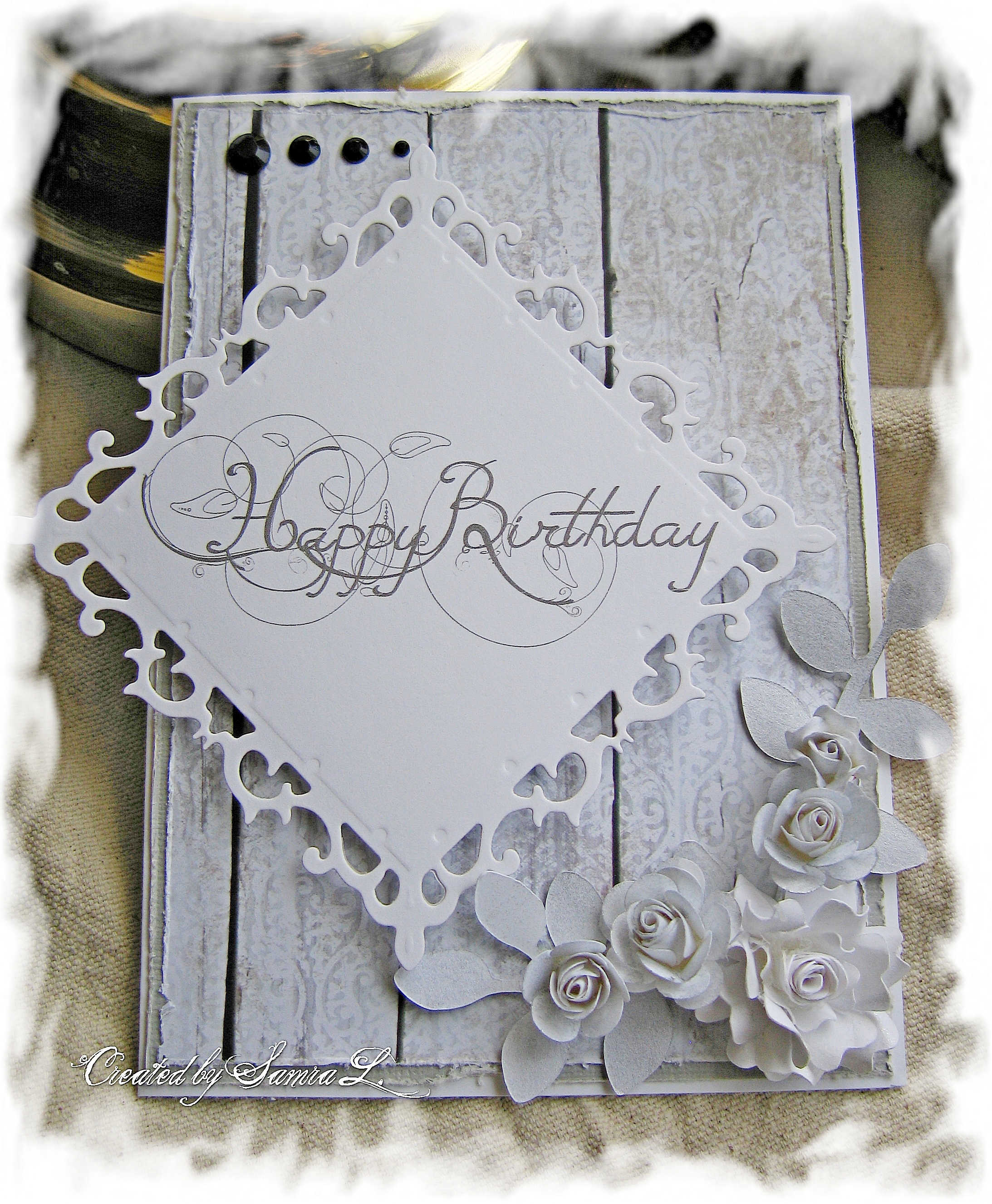 VINTAGE SHABBY CHIC CARD HAPPY BIRTHDAY