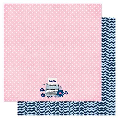 Pink Paislee - Pen Pals Collection - 12 x 12 Double Sided Paper - Priority Mail
